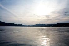 A lake view.