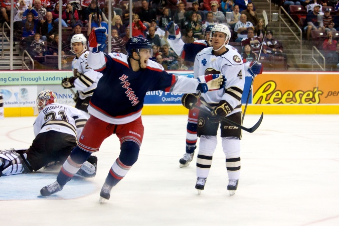 Hartford celebrates after a goal by the Wolf Pack. (Annie Erling Gofus/The Hockey Writers)