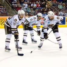 Hershey Bears David Kolomatis, Brandon Segal, Derek Whitmore