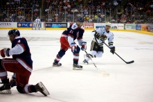 Hershey Bears Defenseman Chay Genoway and Hartford Wolf Pack Forward Shawn O'Donnell
