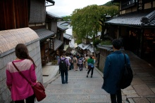 Strolling in Kyoto. On the lookout for Geisha. WHAT ELSE???