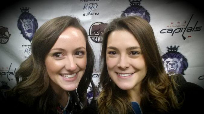 Erica Koup and Annie Erling Gofus in the Reading Royals' press room. (Annie Erling Gofus)