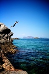 Grayson Leaping in Hydra, Greece