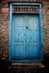 Blue door in Hydra, Greece