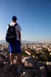 Grayson looking over Athens, Greece