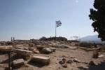 Greek flag flying in Athens, Greece