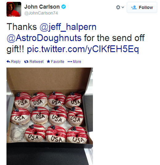 John Carlson and American-themed donuts.