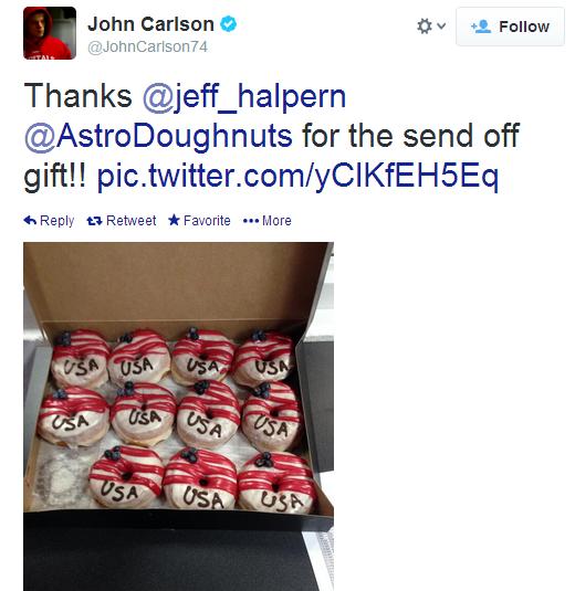 John Carlson and American-themed donuts.