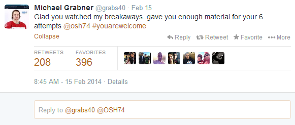 Michael Grabner congratulates TJ Oshie on a job well done in Sochi.