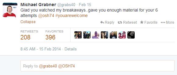 Michael Grabner congratulates TJ Oshie on a job well done in Sochi.