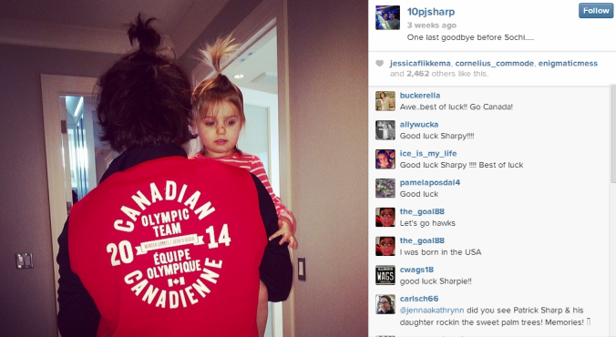 Patrick Sharp and his adorable daughter sport matching ponytails.