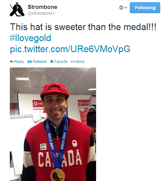 Roberto Luongo sporting Team Canada's fashionable Closing Ceremony outfit.